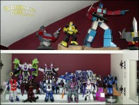 Transformer statues and Decepticons.