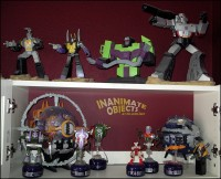 Transformer statues, Unicron, and Quintessons.