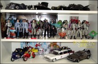 Batmobiles, Ghostbusters, Batcycles, and 1/18th Ecto-1 and Time Machine.